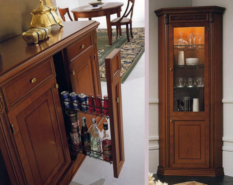 Exklusive Eckvitrine 1tr. Nussbaum Furnier Stilmöbel Designermöbel Italien  | EBay