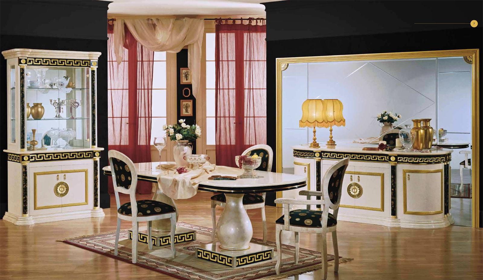 Wohnzimmer Mit Designklassiker Design Luxus Esszimmer Griechische Gold Dekor Hochglanz