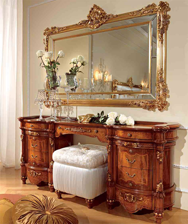 luxus wandspiegel spiegel blattgold holz klassische italienische stilm bel. Black Bedroom Furniture Sets. Home Design Ideas