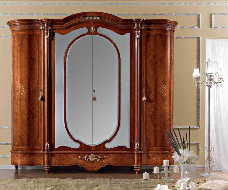Luxus kleiderschrank 4 t r nussbaum furnier klassische for Kleiderschrank kolonialstil