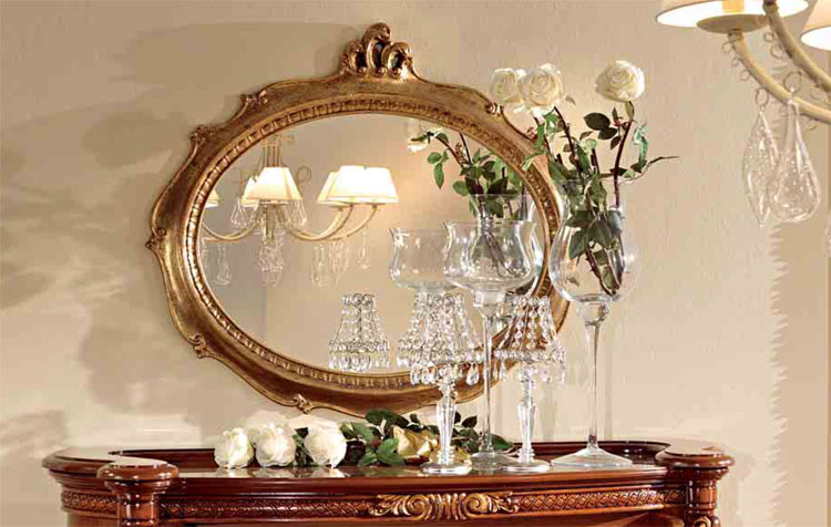 Luxus wandspiegel spiegel oval blattgold holz klassische - Italienische designer wandspiegel ...