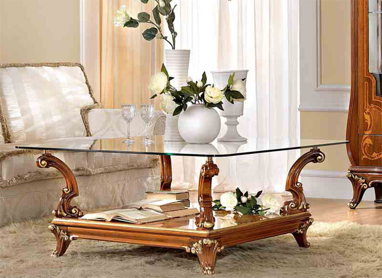 luxus couchtisch 110x110 glasplatte furnier klassische italienische stilm bel ebay. Black Bedroom Furniture Sets. Home Design Ideas
