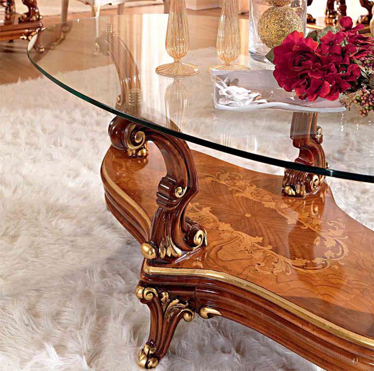 Luxus couchtisch 120x70 oval glasplatte wei gold massiv for Luxus couchtisch