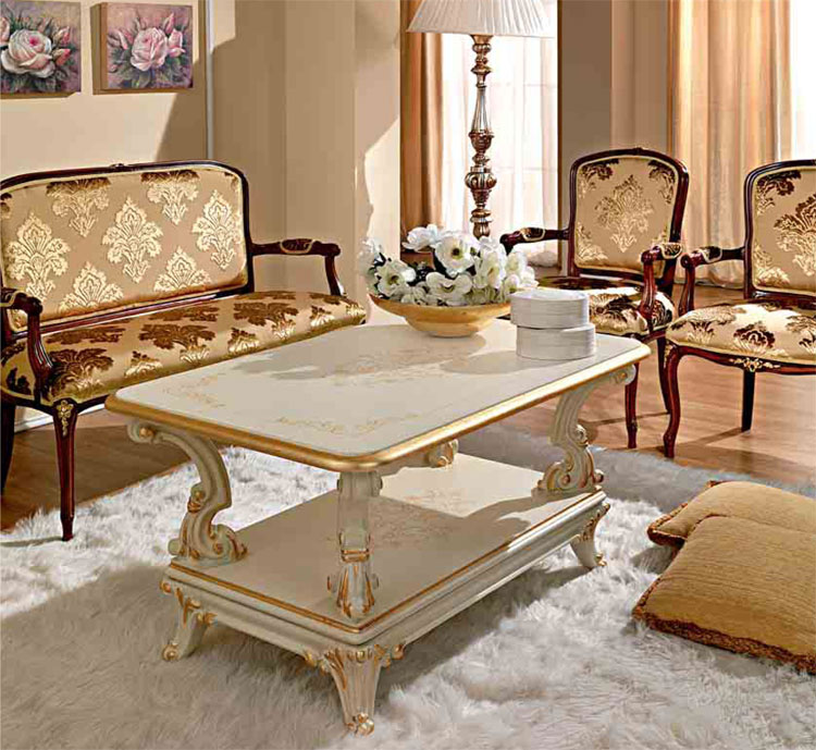 luxus couchtisch 100x60 holzplatte wei furnier italienische stilm bel klassik ebay. Black Bedroom Furniture Sets. Home Design Ideas