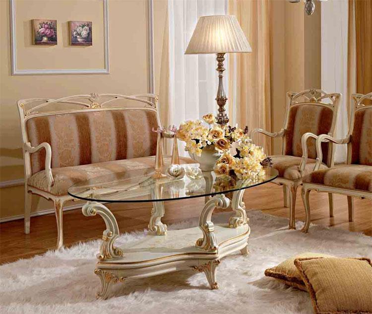 luxus wohnzimmer tische:Luxus Couchtisch 120×70 Oval Glasplatte Weiß Gold Massiv Italienische