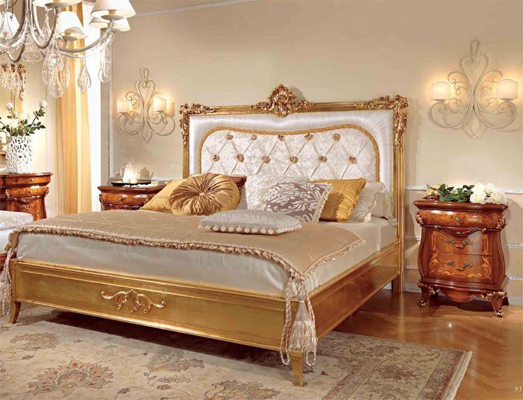 luxus doppelbett 200x200 blattgold furnier klassische. Black Bedroom Furniture Sets. Home Design Ideas
