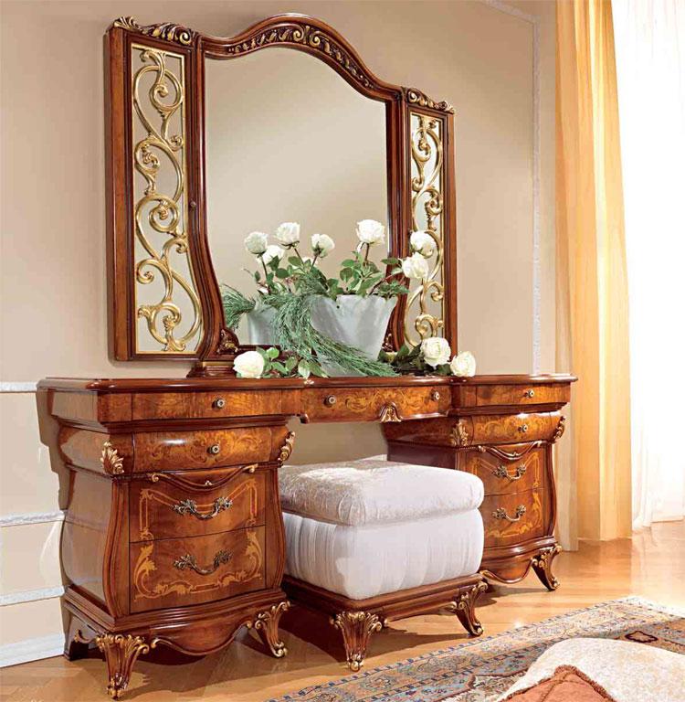 Luxus spiegel blattgold nussbaumrahme furnier klassische - Italienische designer wandspiegel ...
