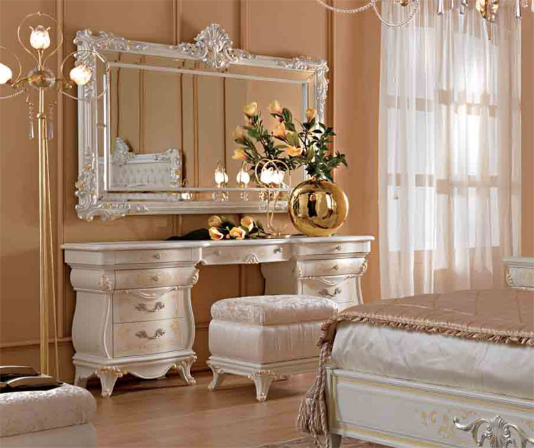 luxus frisierkommode schmucktisch wei furnier klassische italienische stilm bel ebay. Black Bedroom Furniture Sets. Home Design Ideas