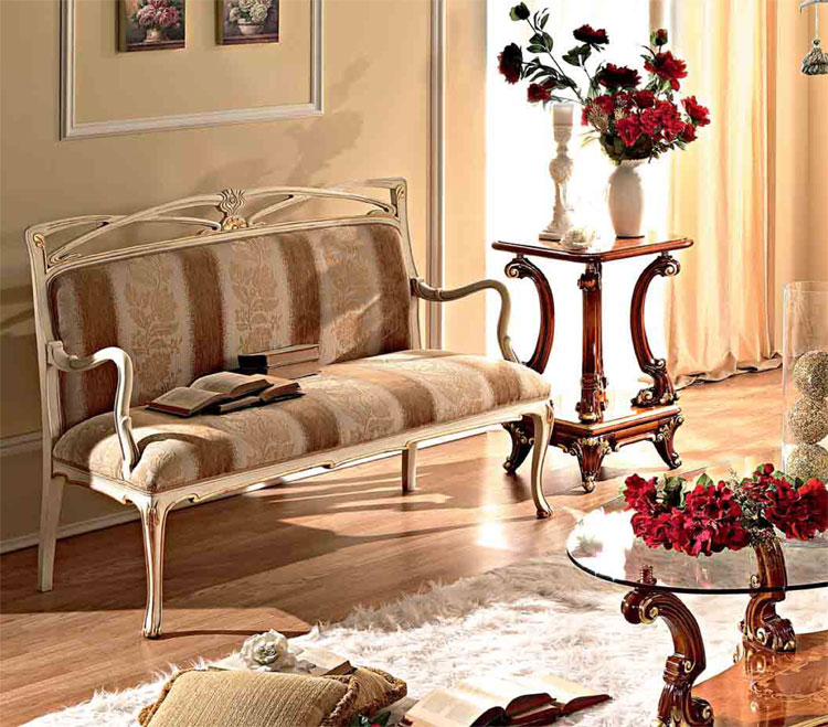 Luxus Bank Sofa Wei Gold Furnier Massiv Klassische