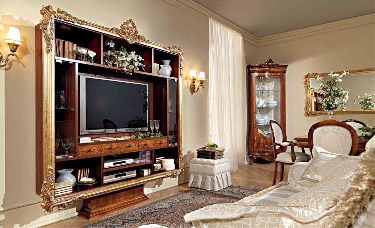 luxus tv plasma wohnwand nussbaum furnier klassische italienische stilm bel ebay. Black Bedroom Furniture Sets. Home Design Ideas