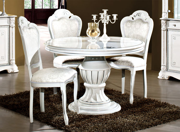 Luxus esstisch prestige rund wei blattsilber dekor for Esstisch rund designklassiker