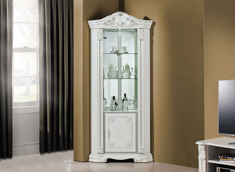 luxus eck vitrine prestige wei blattsilber dekor klassische stilm bel italien. Black Bedroom Furniture Sets. Home Design Ideas