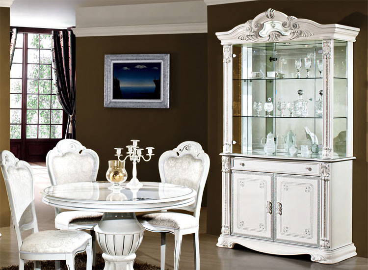 exklusi eckvitrine prestige wei silber dekor klassische stilm bel italien ebay. Black Bedroom Furniture Sets. Home Design Ideas