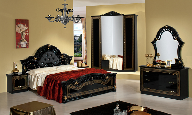 schlafzimmer schwarz gold klassisch standard polster kristalle italy g nstig ebay. Black Bedroom Furniture Sets. Home Design Ideas