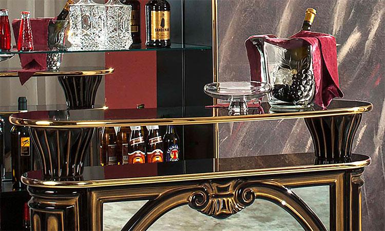 exklusiver bar vitrine tiffanie schwarz gold wohnzimmer aus, Wohnzimmer