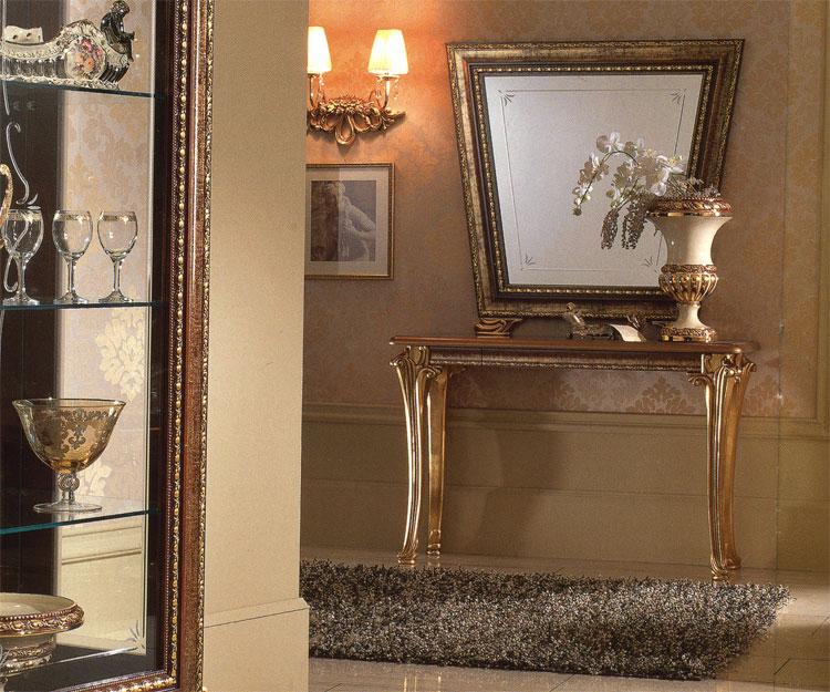 Exklusive konsole spiegel giotto stilm bel italien design nussbaum gold qualit t ebay - Konsole mit spiegel ...