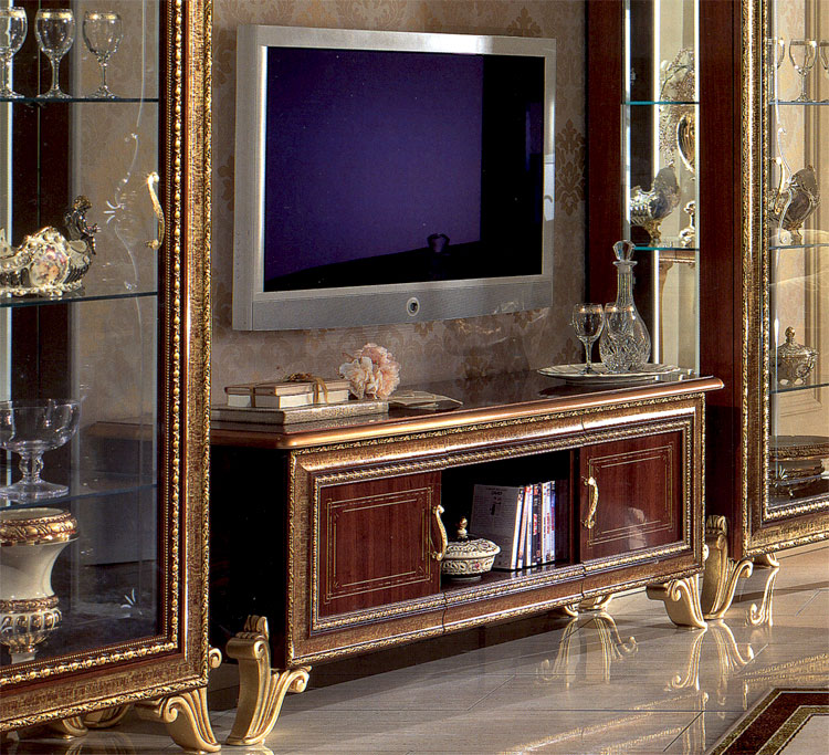 luxus lcd tv schrank plasma giotto luxus m bel italien design nussbaum gold ebay. Black Bedroom Furniture Sets. Home Design Ideas
