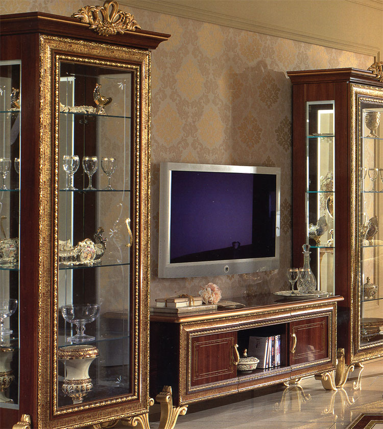 exklusive glas vitrine giotto stilm bel italien mit krone. Black Bedroom Furniture Sets. Home Design Ideas