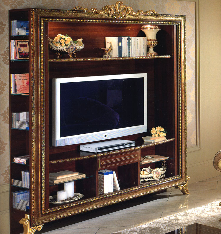 exklusive tv schrank lcd tv giotto luxus stilm bel italien design nussbaum gold ebay. Black Bedroom Furniture Sets. Home Design Ideas