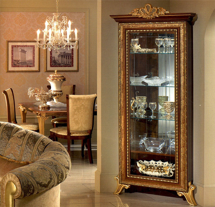 exklusive glas eckvitrine giotto stilm bel italien design nussbaum gold schick ebay. Black Bedroom Furniture Sets. Home Design Ideas