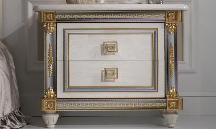 Exklusive nachtkonsole nachttisch hochglanz gold dekor luxus stilm bel italien - Stilmobel italien ...