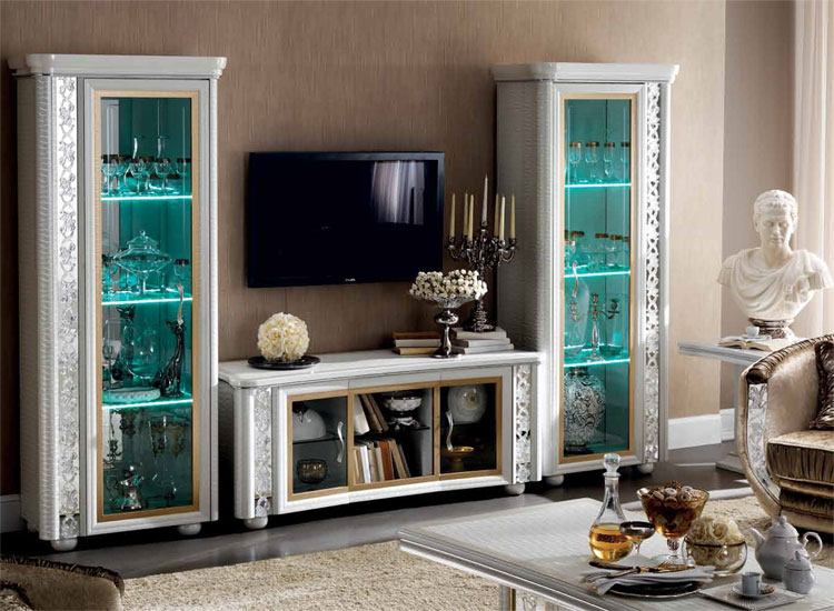 luxus plasma tv wohnwand wohnzimmer vitrine miro klassische stilm bel italien ebay. Black Bedroom Furniture Sets. Home Design Ideas