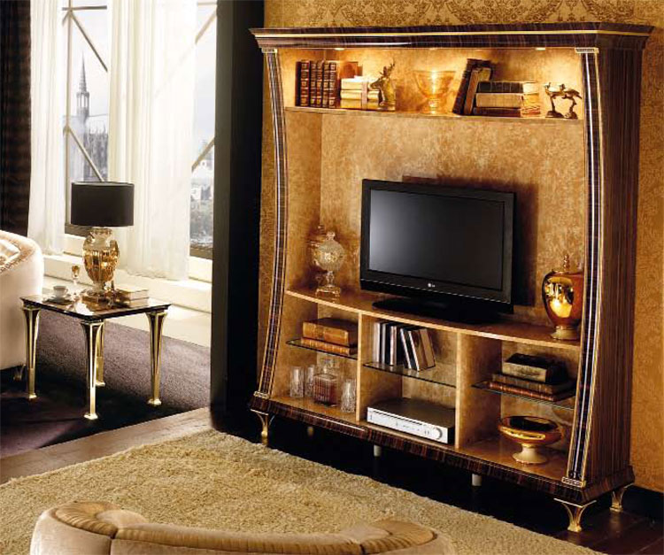 exklusive tv wohnwand rossini kristalle golddekor klassische stilm bel italien ebay. Black Bedroom Furniture Sets. Home Design Ideas