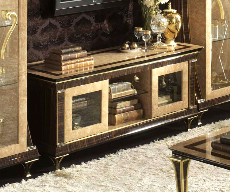 exklusive tv wohnwand rossini klassische stilm bel aus italien ebay. Black Bedroom Furniture Sets. Home Design Ideas