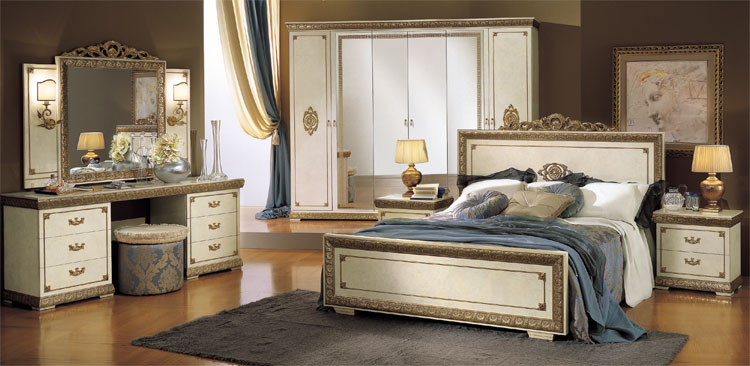 komplett luxus schlafzimmer set impero beige gold klassische stilm bel italien ebay. Black Bedroom Furniture Sets. Home Design Ideas