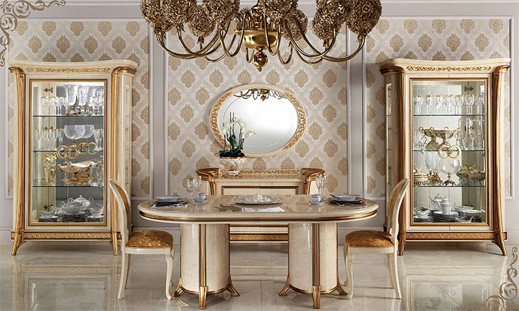 Luxus esstisch melodia beige blattgold dekor design for Designer esstisch italien