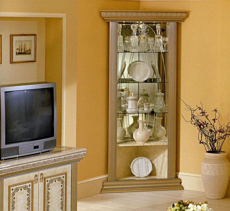 vitrine eckvitrine wohnzimmer vitrine italia exklusive hochqualit t beige gold ebay. Black Bedroom Furniture Sets. Home Design Ideas