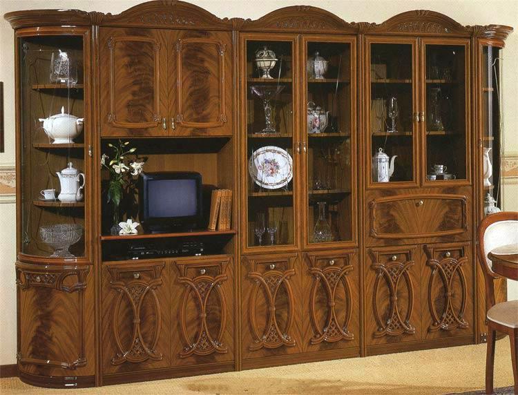 m bel italien wohnwand barocco holz farbe nussbaum klassik. Black Bedroom Furniture Sets. Home Design Ideas