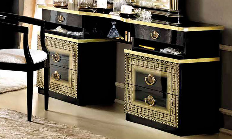 luxus frisiertisch aida schwarz gold klassisches design. Black Bedroom Furniture Sets. Home Design Ideas