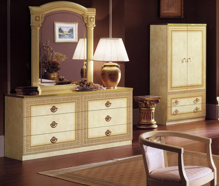 kommode 6 schubladen beige gold stilm bel italia hochglanz klassik ebay. Black Bedroom Furniture Sets. Home Design Ideas