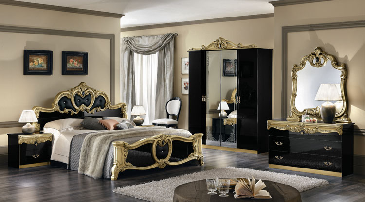 komplett m bel schlafzimmer stilm bel italien barocco barock hochglanz ebay. Black Bedroom Furniture Sets. Home Design Ideas