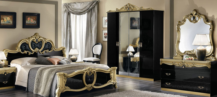 komplett topseller barocco schlafzimmer stil klassik moebel italien hochglanz ebay. Black Bedroom Furniture Sets. Home Design Ideas