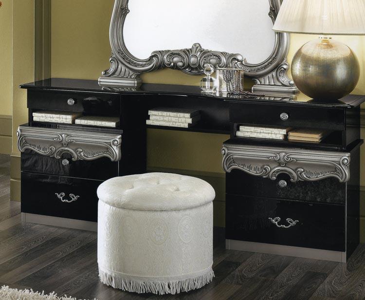 komplett möbel schlafzimmer barocco schwarz-gold italien hochglanz ... - Schlafzimmer Schwarz Silber