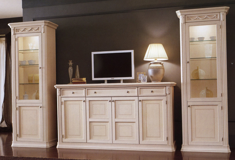 vitrine 1tr esche stilm bel klassik italien beige wei. Black Bedroom Furniture Sets. Home Design Ideas