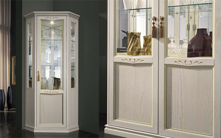eckvitrine esche wei furniert klassische stilm bel designerm bel italien ebay. Black Bedroom Furniture Sets. Home Design Ideas