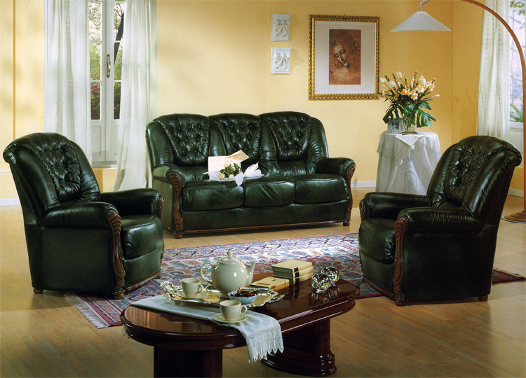 sofa couch sessel gr n echt leder garnitur m bel italien neu designerm bel. Black Bedroom Furniture Sets. Home Design Ideas