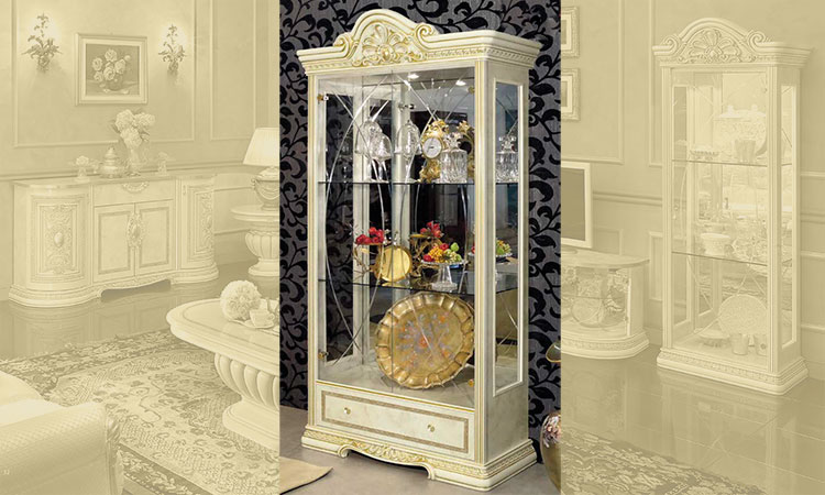 exklusive vitrine 2 t rig leonardo glas gold luxus m bel aus italien serigraphie ebay. Black Bedroom Furniture Sets. Home Design Ideas