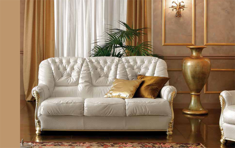 exlusives sofa couch 3 sitzer ecoleder italienische klassische stilm bel komfort ebay. Black Bedroom Furniture Sets. Home Design Ideas