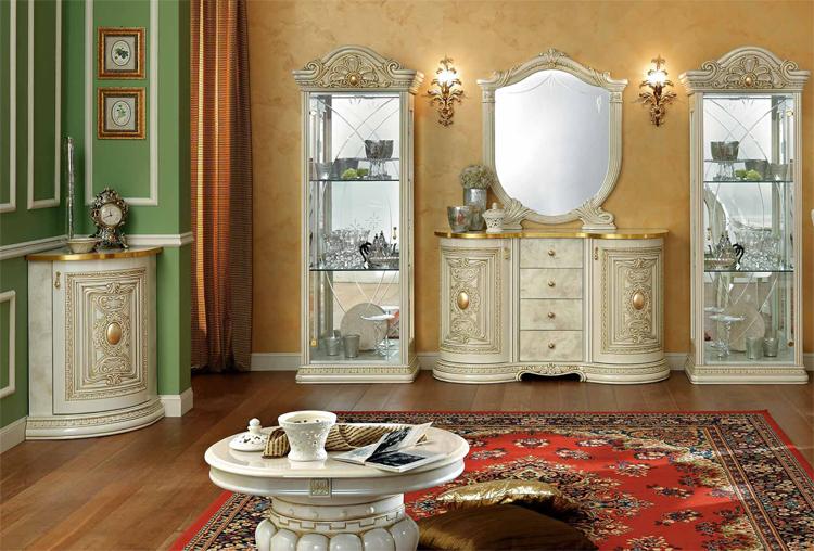 esstisch rund ausziehbar italienische stilm bel klassik beige hochglanz ebay. Black Bedroom Furniture Sets. Home Design Ideas