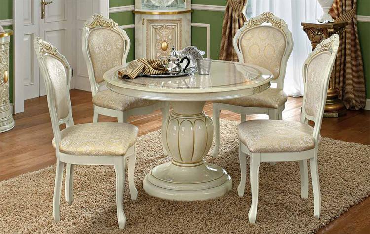 esstisch rund ausziehbar italienische stilm bel klassik beige hochglanz hamburg. Black Bedroom Furniture Sets. Home Design Ideas