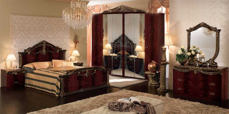 komplett schlafzimmer mahogany gold hochglanz stilm bel italien ebay. Black Bedroom Furniture Sets. Home Design Ideas