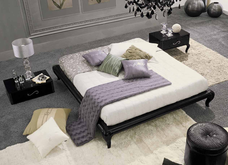 moderne italienische bettgruppe bett mit bettkasten nachtkonsole luxus schick. Black Bedroom Furniture Sets. Home Design Ideas