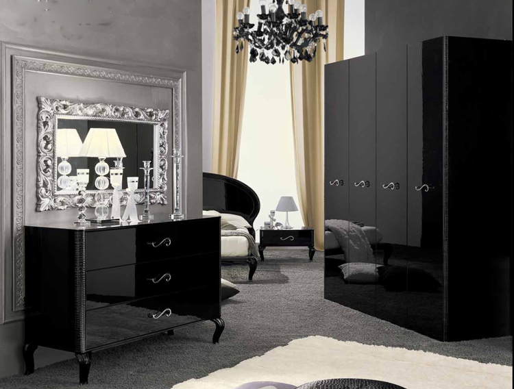 exklusive kommode 6 schubladen schwarz hochglanz stilm bel. Black Bedroom Furniture Sets. Home Design Ideas