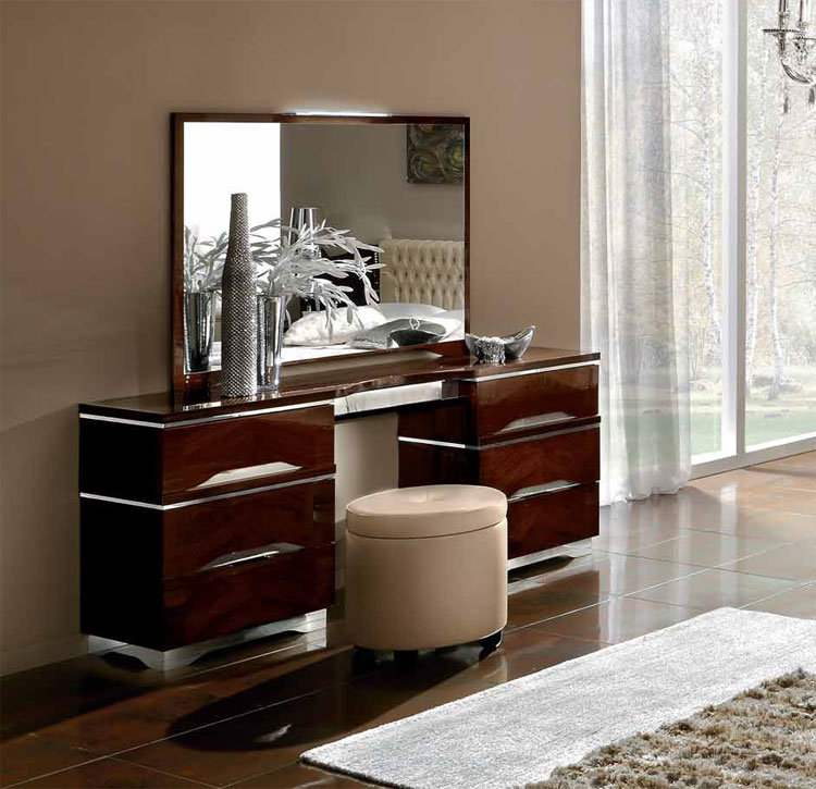 luxus spiegel matrix modern deluxe m bel italien design nussbaum silber. Black Bedroom Furniture Sets. Home Design Ideas