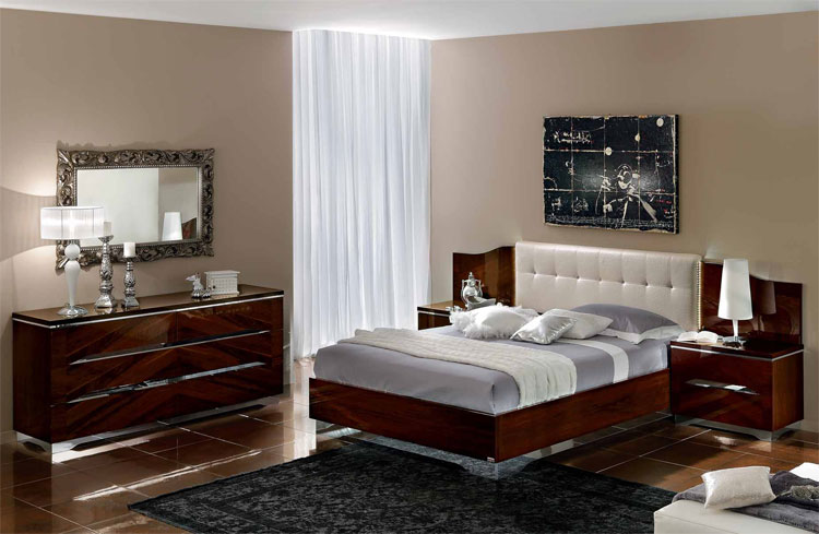 luxus schlafzimmer matrix hochglanz modern stilm bel italien design nussbaum. Black Bedroom Furniture Sets. Home Design Ideas