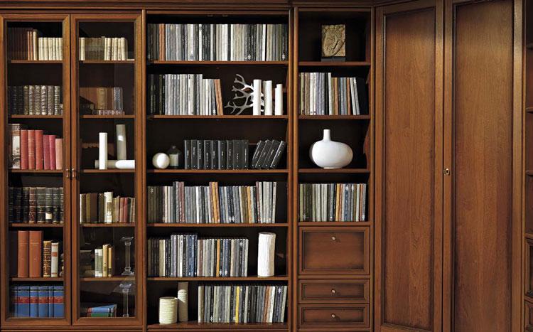 B cherschrank schrankwand bibliothek modular wohnwand - Schrankwand nussbaum ...